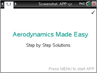 Aerodynamics Made Easy App for the TiNspire calculator