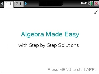 Algebra Made Easy App for the TiNspire calculator