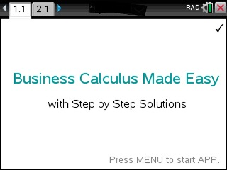 Business Calculus Made Easy App for the TiNspire calculator