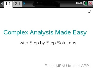 Complex Analysis Made Easy App for the TiNspire calculator