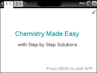 Chemistry Made Easy App for the TiNspire calculator
