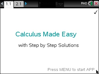 Calculus Made Easy App for the TiNspire calculator