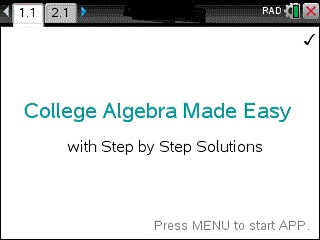 College Algebra with Trigonometry App for the TiNspire calculator