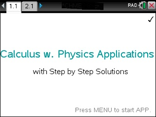 Calculus with Physics Applications App for the TiNspire calculator