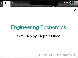 Engineering Economics Made Easy App for the TiNspire calculator