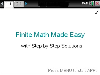 Finite Math Made Easy App for the TiNspire calculator