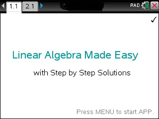 Linear Algebra Made Easy App for the TiNspire calculator
