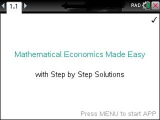 Mathematical Economics Made Easy  App for the TiNspire calculator