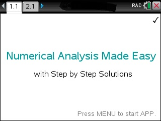 Numerical Analysis Made Easy App for the TiNspire calculator