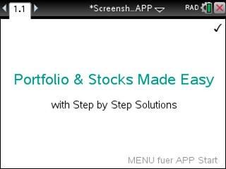 Portfolio & Stocks Made Easy App for the TiNspire calculator