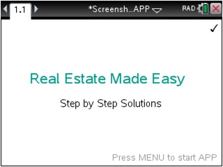 Real Estate Made Easy App for the TiNspire calculator