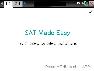 SAT Made Easy App for the TiNspire calculator