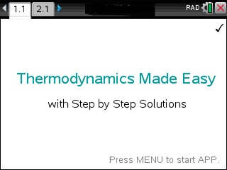 Thermodynamics Made Easy App for the TiNspire calculator