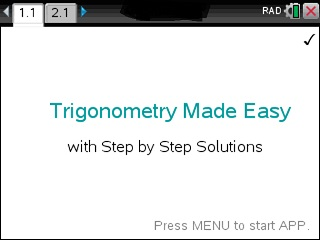 Trigonometry Made Easy App for the TiNspire calculator