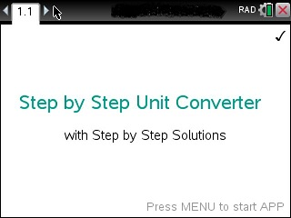 Step by Step Unit Converter App for the TiNspire calculator
