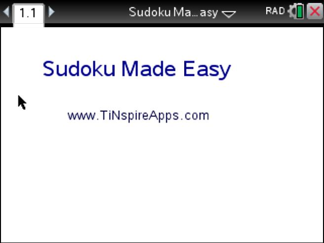 Sudoku Made Easy on the TI-Nspire